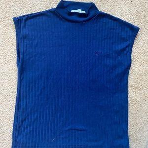 Vintage navy blue sleeveless Mockneck top